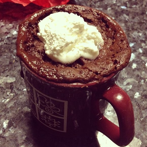 Microwave Coffee Mug Brownies Recipe Desserts, Beverages with flour, sugar, cocoa, instant coffee, salt, cinnamon, water, melted butter, vanilla extract