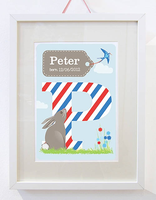 Personalised Baby Name Birth Print for boys with sweet bunny and bird. Perfect for a new baby gift. From KatyJane Designs