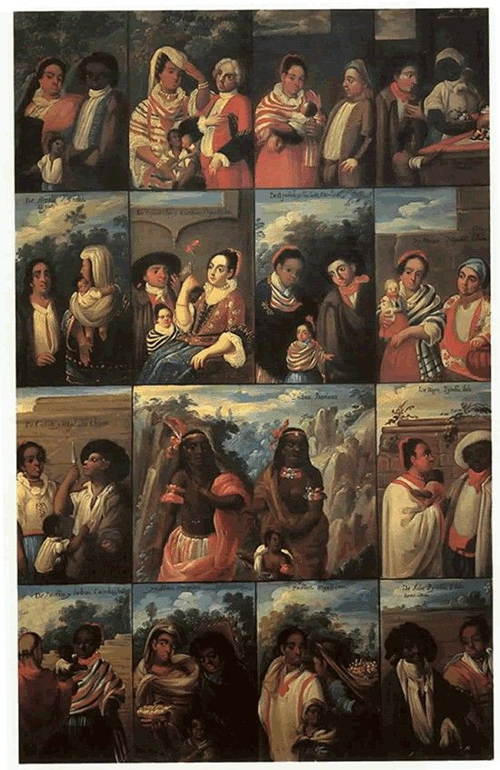 Castes of New Spain, casta paintings depicted the mixing of European, Indian & African blood in Colonial Spanish America and the attempts to structure polymorphous society  anonymous, 18th century.