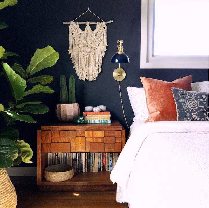 my scandinavian home: Dark blue walls in the bedroom of the cosy modern bohemian home of Megan Schlachtenhaufen