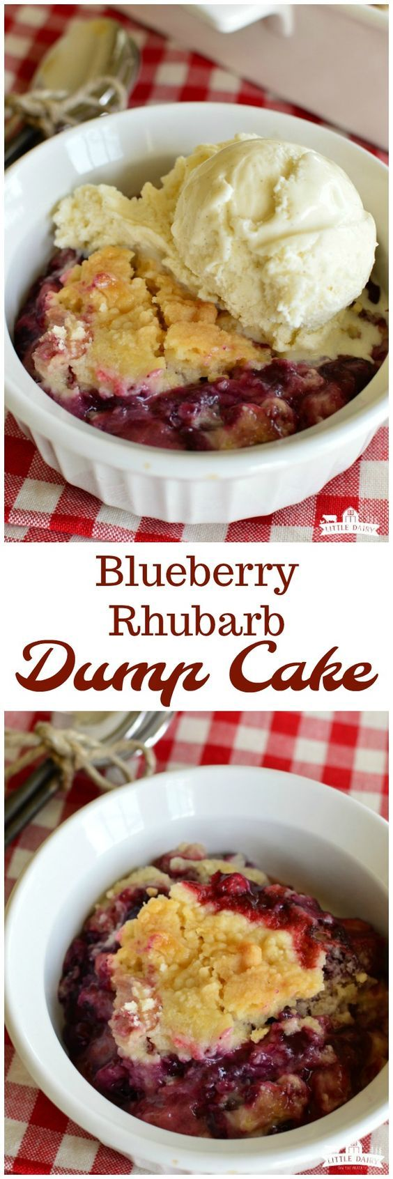 Blueberry Rhubarb Dump Cake is a quick and easy summer dessert! It only takes a few ingredients. Make sure to top it with vanilla ice cream or whipped cream! #rhubarb www.littledairyon...