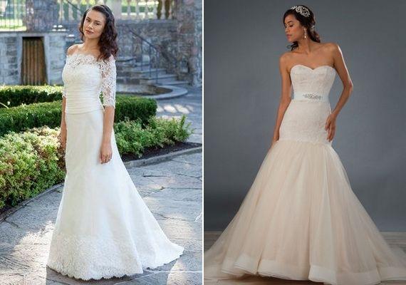 A váll nélküli esküvői ruhák nagyon divatosak, és könnyebb bennük elviselni egy hőséget, mint az ujjas fazonokban.