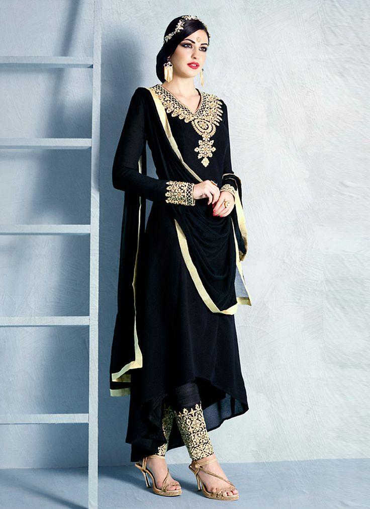 Anarkali Style Black Color with Resham Work Wonderful Unstitched Salwar Kameez
