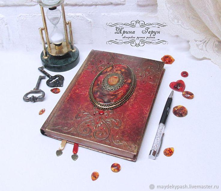 """Купить Ежедневник """"Аlegria"""" - Декупаж, красный, ежедневник, подарок, подарок девушке, подарок на новый год"""