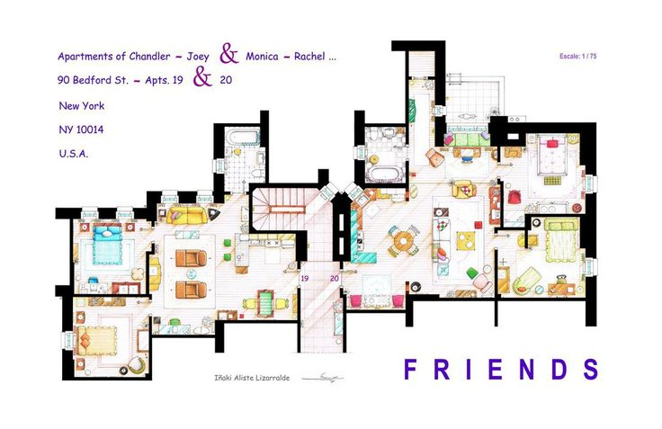 """. This handmade floorplan represents the apartments of Monica-Rachel and Chandler-Joey from the TV show """"FRIENDS"""". Is an original hand drawed plan, in scale, coloured with colour pens a..."""