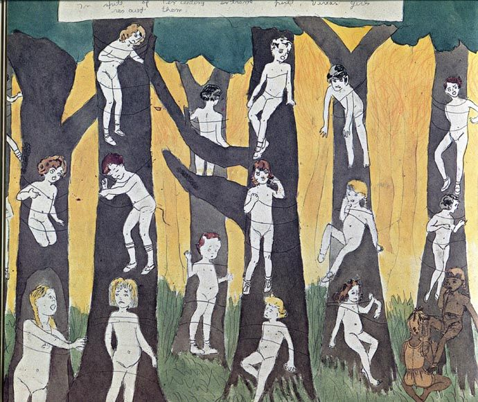 The fascinating hidden art of of Henry Darger. After his death his unsuspecting landlord discovered his extensive oeuvre.