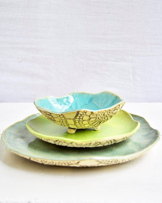 modern ceramic dinnerware place setting SECONDS plate bowl dishes Organic Soul series