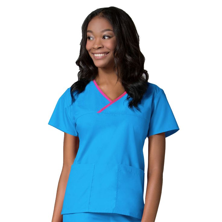 Maevn Contrast Mock Wrap Scrub Top 1026 | Maevn Uniforms | – ClothesRack Malibu Nurses Uniforms, Malibu Nurses Scrubs, Malibu Blue Nurses Tunics