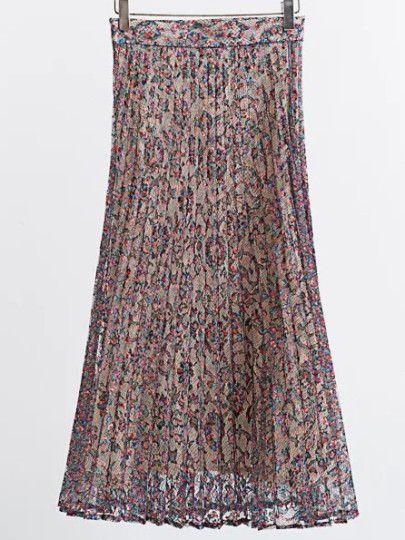 Falda plisada de estampado floral y encaje-Sheinside