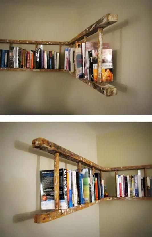 Ladder Bookshelf. That's a neat idea. I would probably need a lot of these because I own a lot of books. [ Wainscotingamerica.com ] #DIY #wainscoting #design