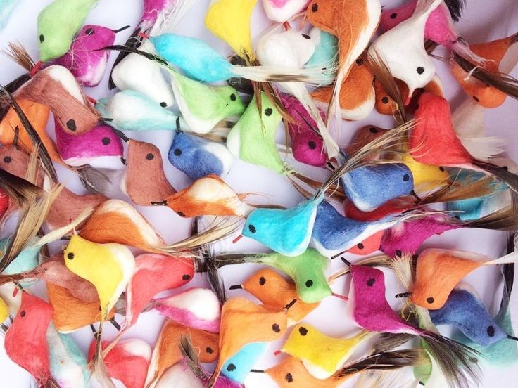 Random! 12 Colorful Foam Feather Miniature Artificial Bird Decor Crafts Handmade #Unbranded