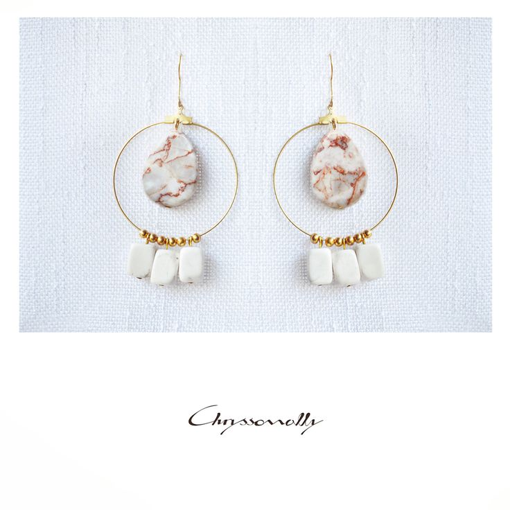 JEWELRY | Chryssomally || Art & Fashion Designer - Boho chic gold earrings with orange and white gemstones