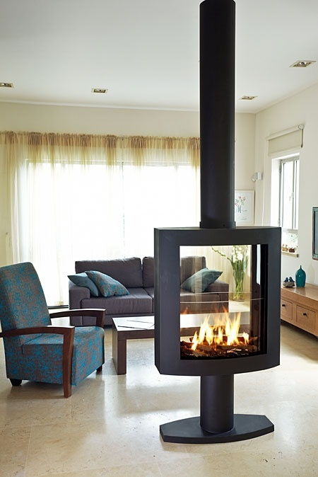 Ortal | Ortal Clear 75 65 Curved Gas Fireplace. Add Artic Blue fire glass crystals to complement the room: http://www.firecrystals.com/Artic-Blue-1-4-p/10025.htm