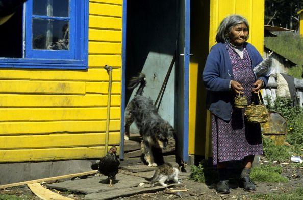 Chile, Navarino Island, Old Indian Lady, Yamana (yaghan)...