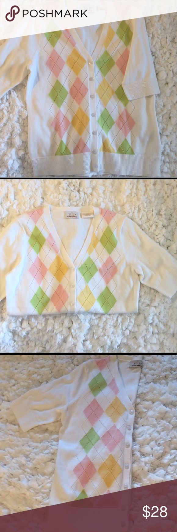 "E P Pro Argyle 100% Cotton Sweater Cool Cotton Short Sleeve Golf Sweater. Not just for golf. Summery pink, yellow, and light green argyle on white background. Length 23""' chest 19"". E P Pro is a high end golf clothing brand. E P Pro Sweaters Cardigans"