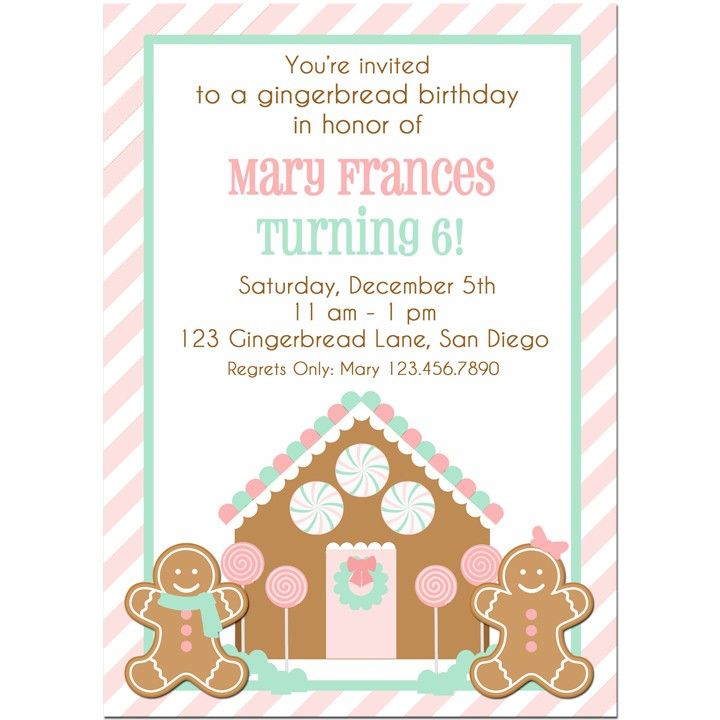 Best 25 Gingerbread birthday party ideas – Gingerbread Party Invitations