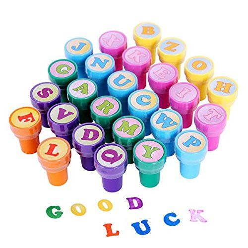 ROSENICE 26 St�ck Buchstabenstempel Kinderstempel A bis Z Alphabet Stempelset