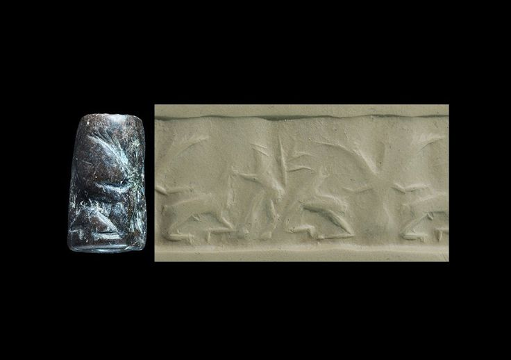 Cylinder Seal of Dark-brown Stone, 18 x 10.5 mm. In the middle is an eagle, with wings spread and tail feathers showing below the body. With either talon it is gripping the back of a recumbent horned animal. To the right of this group is a reared up lion. This is an Akkadian seal, c. 2300-2150 B.C., from Mesopotamia or a neighbouring area. The eagle is the mythological Imdugud-bird, known from Sumerian texts.