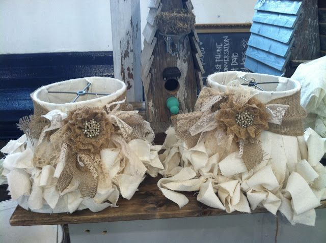 LOVE these muslin, burlap and lace lampshades with just a touch of bling!