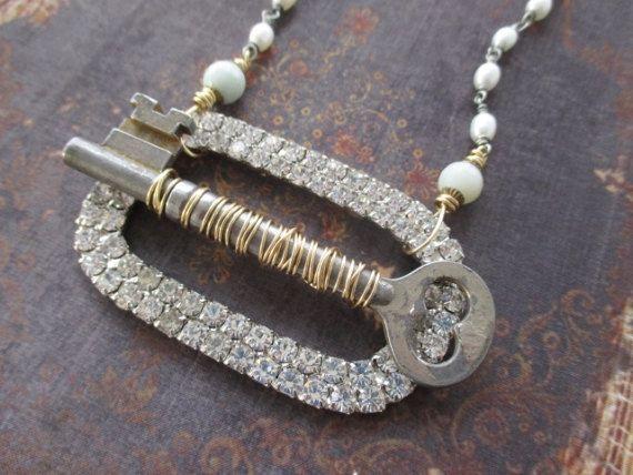 OOAK Vintage rhinestone freshwater pearl necklace UnLock