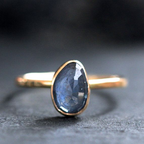 Soft Blue Sapphire Ring in Recycled 14k Solid Gold - Rose Cut Sapphire on Etsy, $400.00