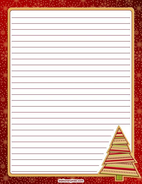 Printable Christmas stationery and writing paper. Free PDF downloads at http://stationerytree.com/download/christmas-stationery/.