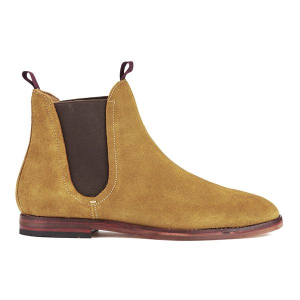 H Shoes by Hudson Men's Tamper Suede Chelsea Boots - Sand (230 BGN) ❤ liked on Polyvore featuring men's fashion, men's shoes, men's boots, tan, mens slip on boots, mens slip on shoes, mens fur lined boots, mens tan shoes and mens shoes