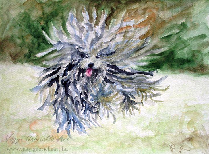 Ugró puli kutya - akvarell festmény - megvásárolható a linkre kattintva #akvarell #aquarell #painting #art #dog #puli #happy #green #grey #animal