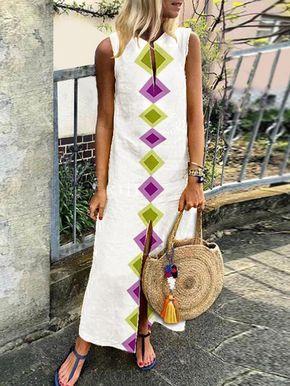 88844c5f0482 JustFashionNow Plus Size V neck Women Summer Dress Shift Dress Sleeveless  Casual Slit Tribal Dress
