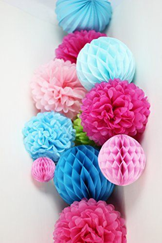 Love the combination of paper honeycomb balls & pom poms for girl baby shower