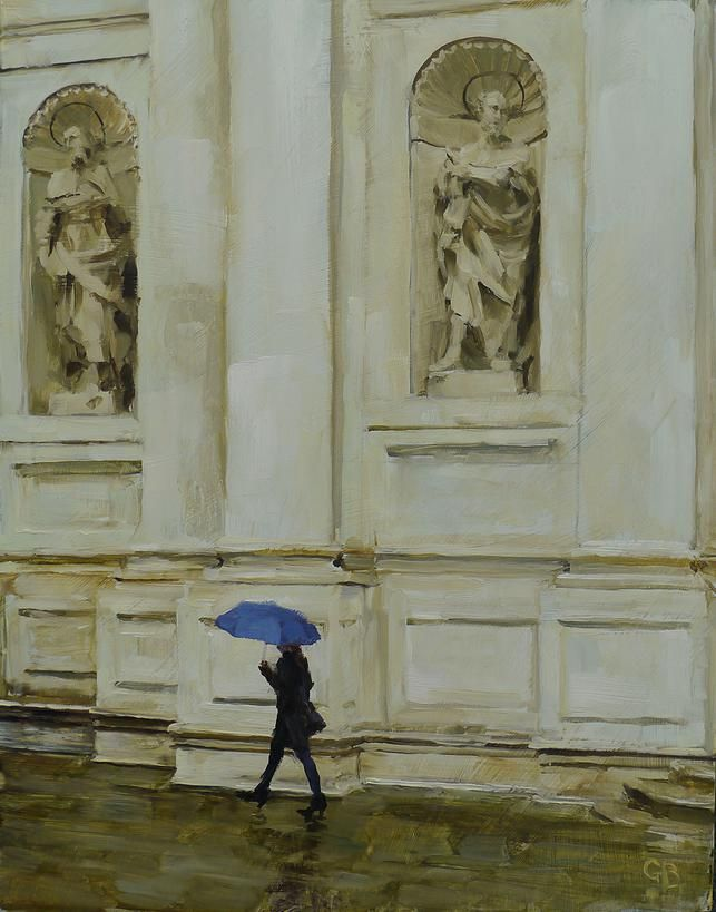 """Blue Umbrella"" by artist George Bodine"