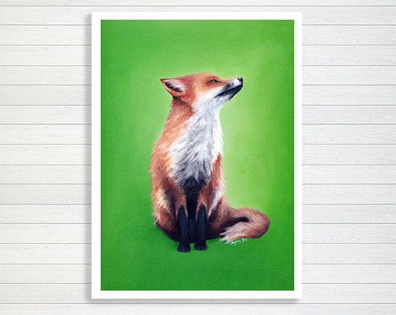 Stampa piccola volpe 13x18, carta lucida archivio hahnemühle, stampa verde, giclee per stanza bimbi, arte animali della foresta by SilviaVieri #italiasmartteam #etsy