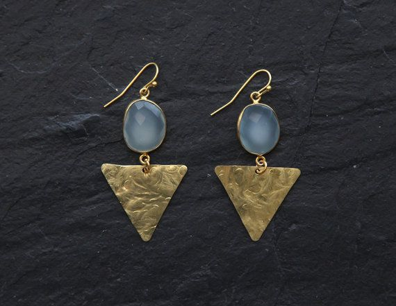 Aqua blue chalcedony and hammered brass triangle by rosehipjewelry, $26.00