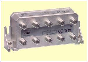 Met het AFC2081 achtvoudig aftakelement kunt u een bestaande coaxkabel onderbreken en acht aftakkingen maken naar acht nieuwe antenne aansluitdozen, bijvoorbeeld in al uw kamers in huis. De verzwakking van de doorgaande kabel is minimaal, slechts 8,0 dB. De verzwakking naar de aftakpunten bedraagt 12,5 dB tot 19,0 dB.  http://www.vego.nl/hirschmann/afc2081/afc2081.htm