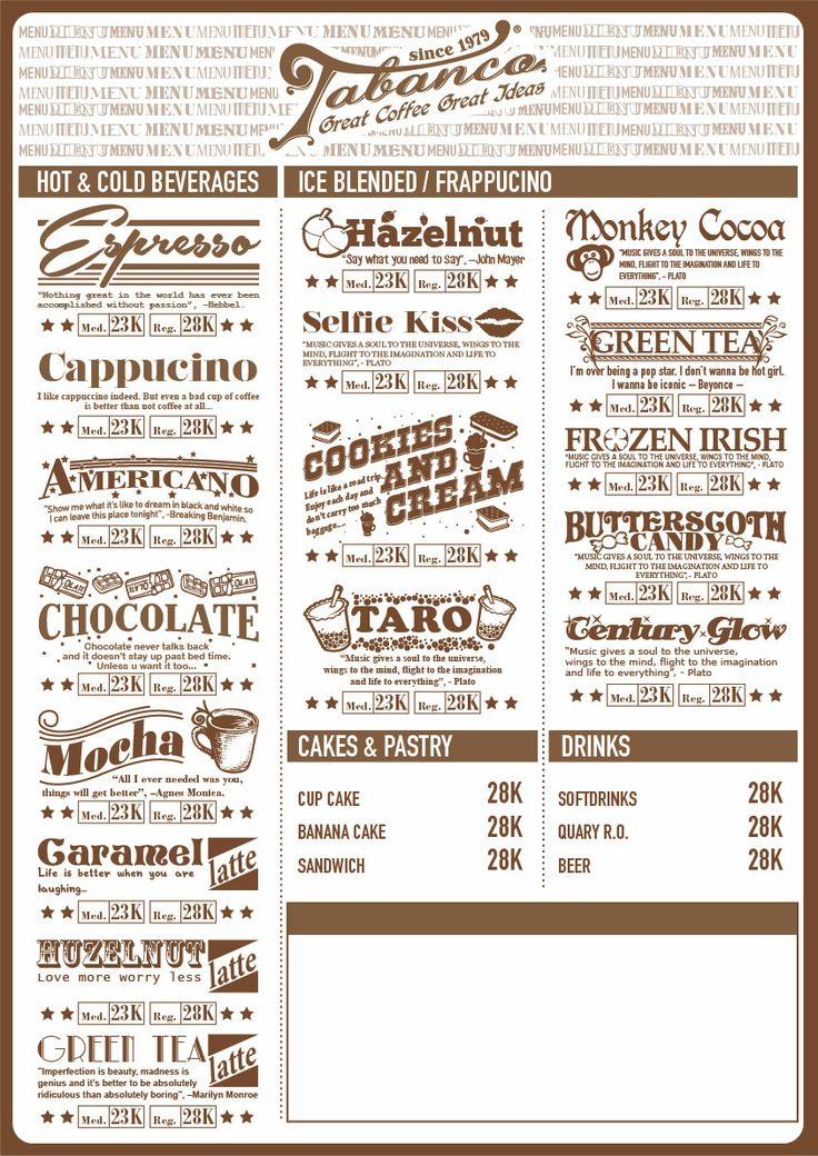 Coffee menu Menu Pinterest Coffee menu, Menu and Coffee - coffee menu
