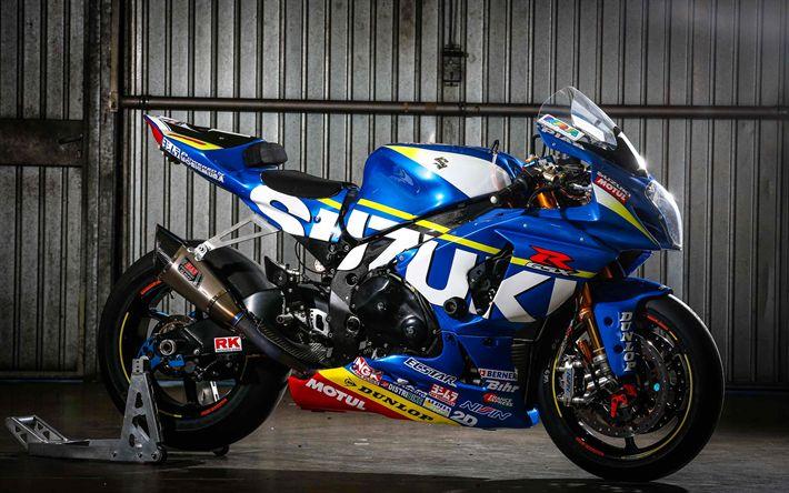 Download imagens Suzuki GSX-R 1000, 4k, 2017 motos, sportbikes, japonês motocicletas, Suzuki