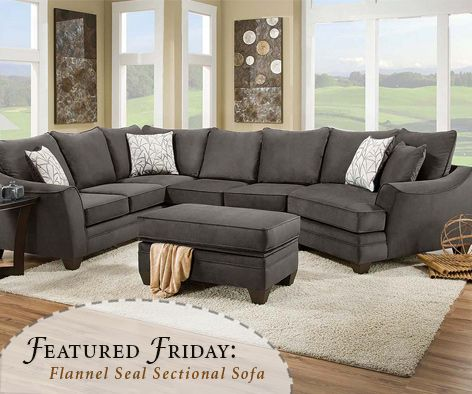 Chelsea Home Furniture Flannel Seal 2 PC Sectional Sofa With Storage Ottoman
