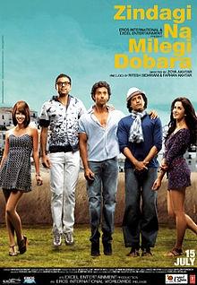 """""""Zindagi Na Milegi Dobara"""" (2011).  (Hrithik Roshan, Abhay Deol, Farhan Aktar, Katrina Kaif, Kalki Koechlin)"""