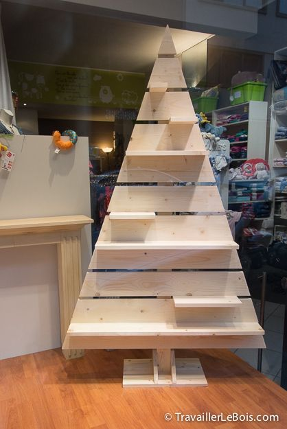 christmas village display stand in the shape of a christmas tree painted white would be nice lair du bois un sapin de nol en bois - Wooden Christmas Trees