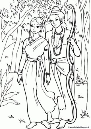 Rama and Sita Colouring Page