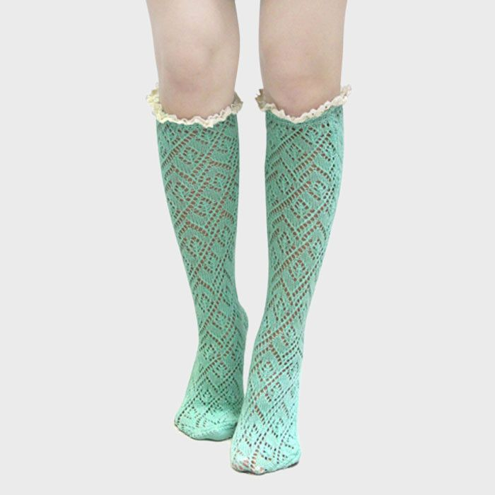 Lace Trimmed Scalloped Pointelle Knee High Socks - Mint
