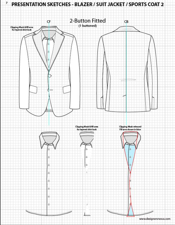 Mens Illustrator Flat Fashion Sketch Templates - Presentation Sketches Suit…