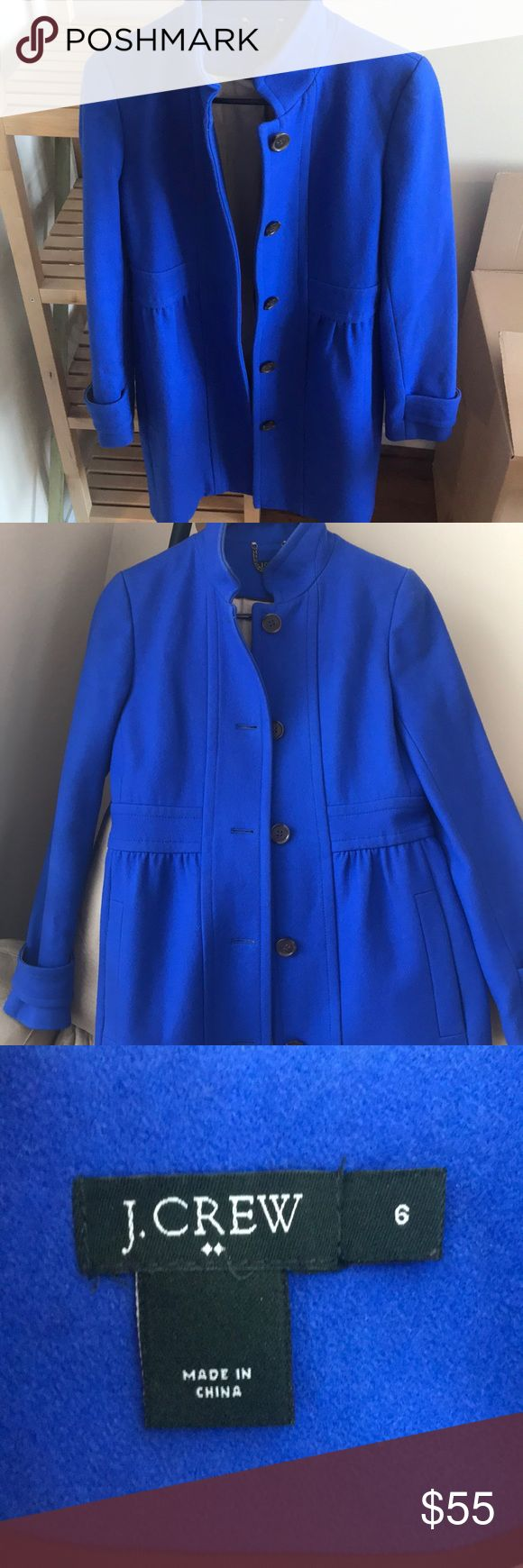 JCrew Women's Coat Authentic J.Crew, knee length coat. Beautiful bright blue color in good condition. Size 6 but runs on the small size ( I am usually a 4). J. Crew Jackets & Coats Pea Coats