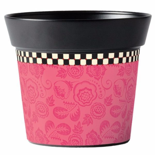 "This 6 inch metal pot is handcrafted in India, then printed in the USA. Drop in a 4"" or 6""potted plant and you've created an easy gift-to-go! Also makes a terrific mini gift basket! Just fill it with"