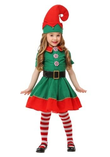 This exclusive Toddler Holiday Elf Costume is a festive choice for visiting Santa or attending any Christmas party!
