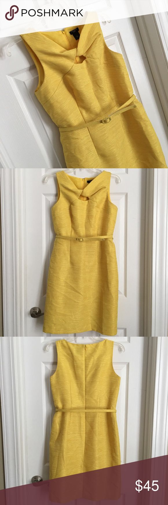"🍋 20% SALE! Ann Taylor 🍋Yellow Brocade Dress 🍋 Ann Taylor Petite Sz 4 Yellow Brocade Dress. Belt included, attached by string loop on both sides. Fully Lined. Gently Used condition. To me the color is lemony yellow but with golden yellow shimmery threading.  4"" back slit on skirt. Flattering Darts on back and front for tailored look. Machine Wash Cold. Polyester.  ❗️20% off all dresses for a limited time! ❗️ Ann Taylor Dresses Midi"