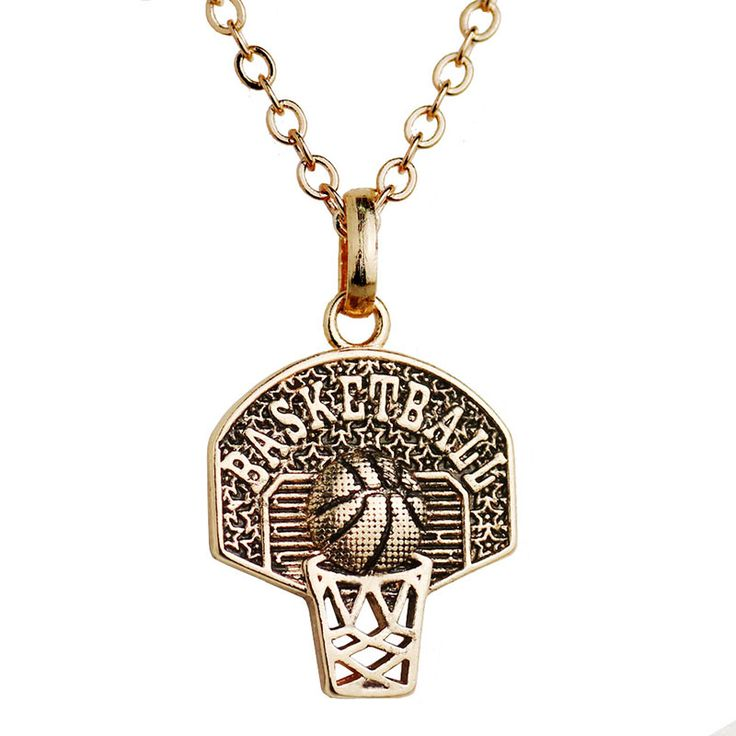 Sport Pendant Necklace Basketball Hoop Charm Necklace Personalized Basketball Necklace Women Basketball Jewelry Coach Gift