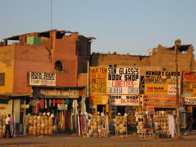 Tourist vendors outside Luxor Temple.  Photo: David Yustin