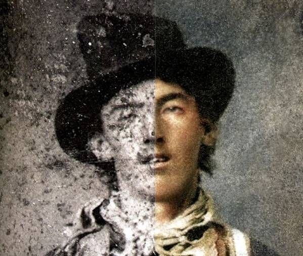 An old photograph of Billy the Kid touched up to reveal a clearer picture of what the criminal legend looked like.