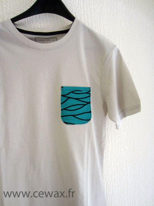 Tee shirt customisé wax motif africain turquoise (envoi 0€) : Tshirts, polos par cewax